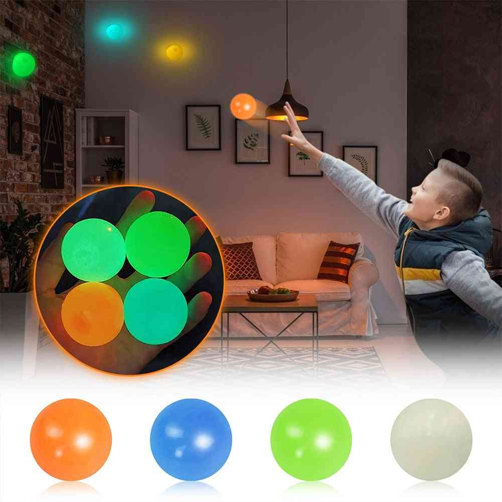 Stress Relief Luminous Balls, Anxiety, Pressure, Squishy Multicolored, Sticky Wall, Home, Party Night, Bright Decoration