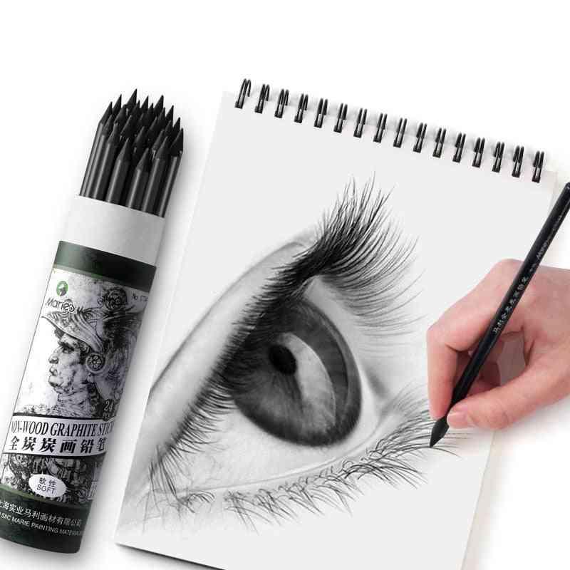 Soft Non-wood Charcoal Drawing Pencil, Non-toxic Sketching Pencil