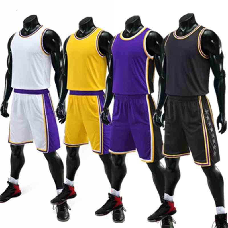 Kids Adult Basketball Jersey Set - Basketball Uniforms Goal Throw Training Vest