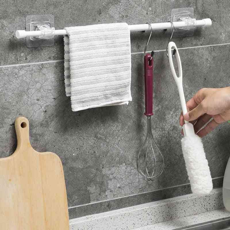Bathroom Shower Curtain Rod Fixed Clip Bracket Hook Holder Hanger
