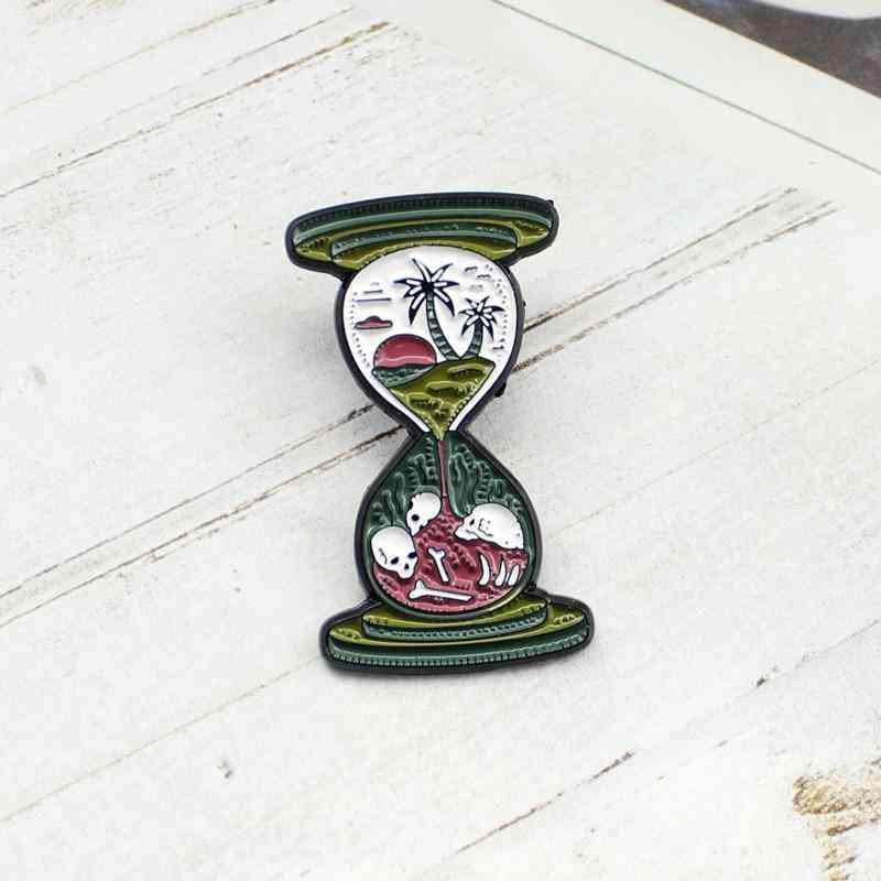 Green Hourglass Brooch Sunset Coconut Tree Skull Alloy Brooch Badge