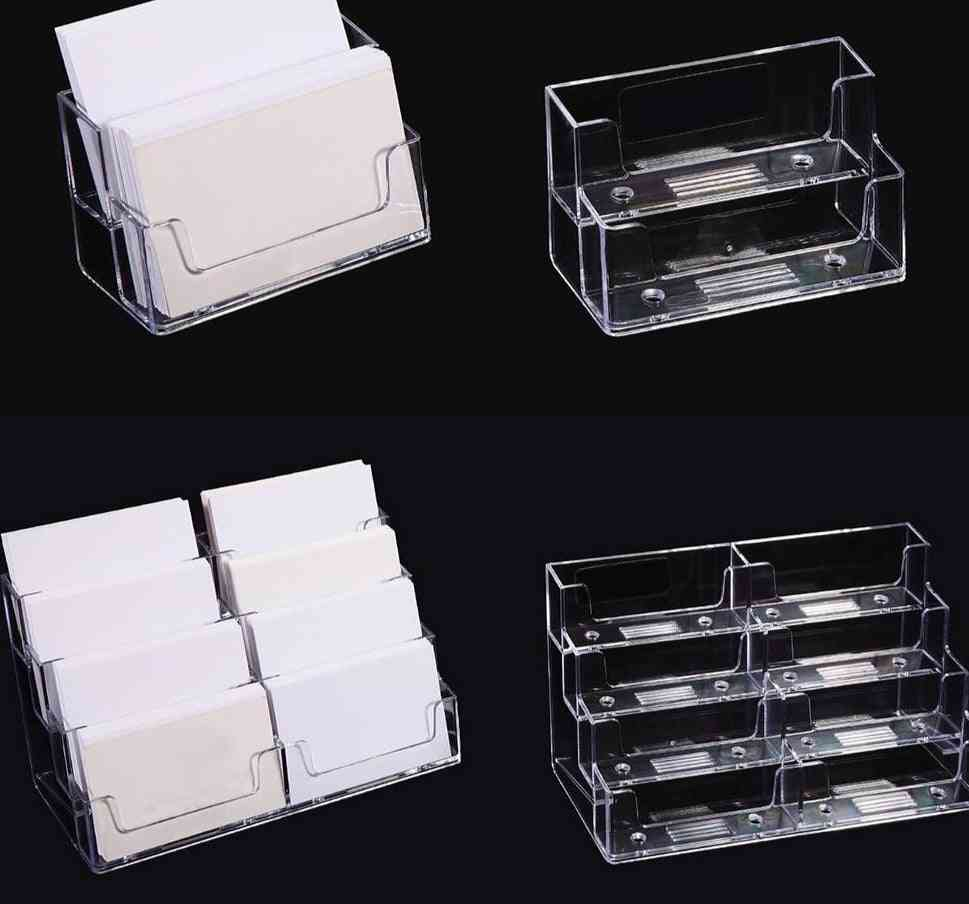 Portable Display Stand Business Card Holder Transparent Multilayer Dispenser Landscape