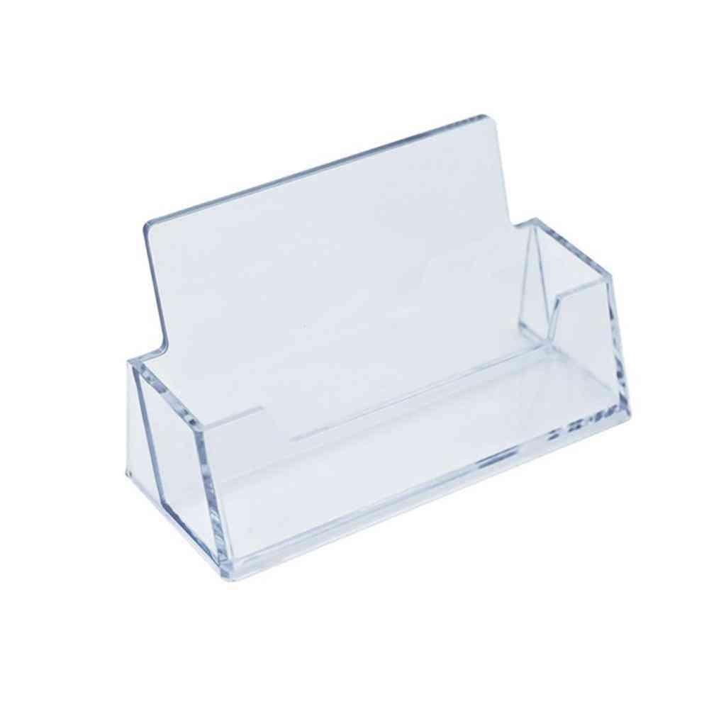 1pc Clear Desk Shelf Box, Plastic Transparent Desktop Business Card Holder