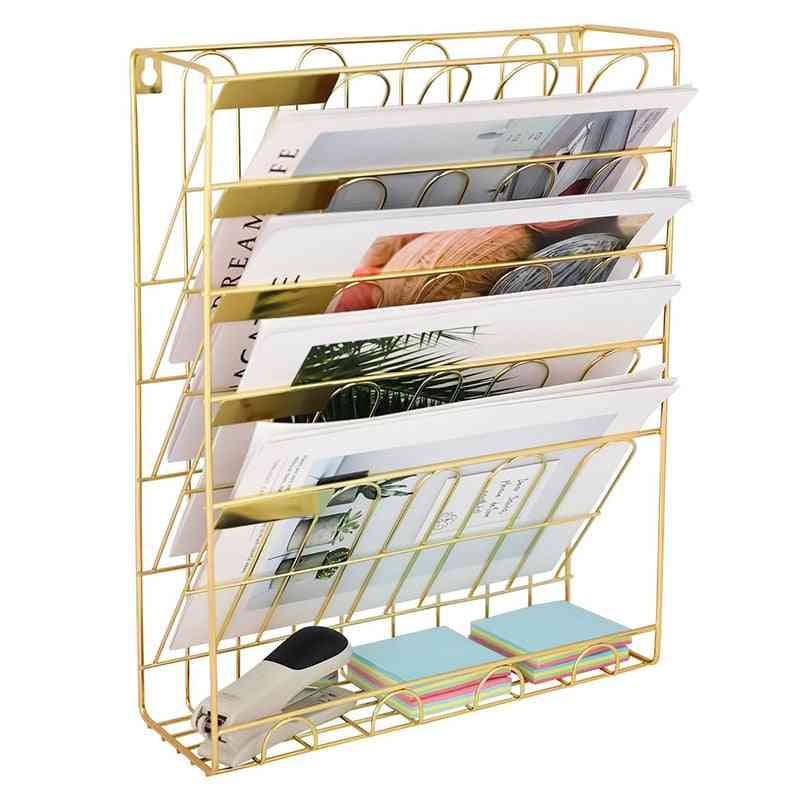 Hanging Wall File Magzine Organizer 5 Slot Wire Metal Wall Mounted Document Holder