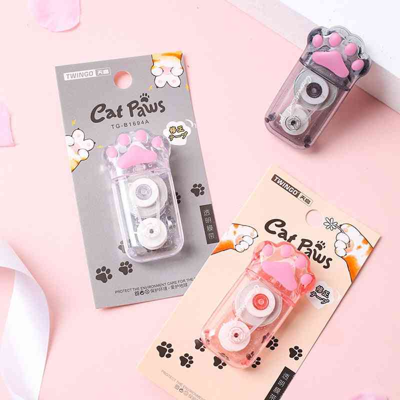 Transparent Cute Cat Claw Stationery School Supply, Corrector, Correction Tape