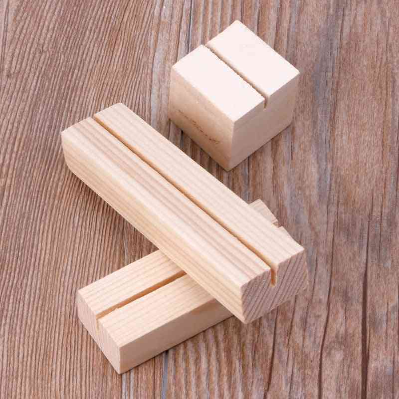 Natural Wood Memo Clips Photo Holder Clamps Stand Card