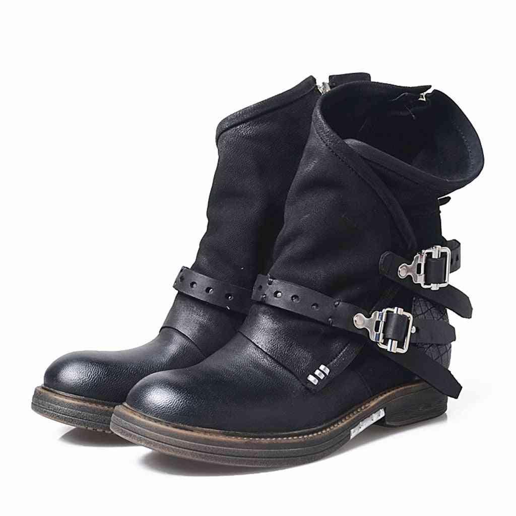 Motorcycle Boots Retro Cool Belt Zipper Autumn Shoes