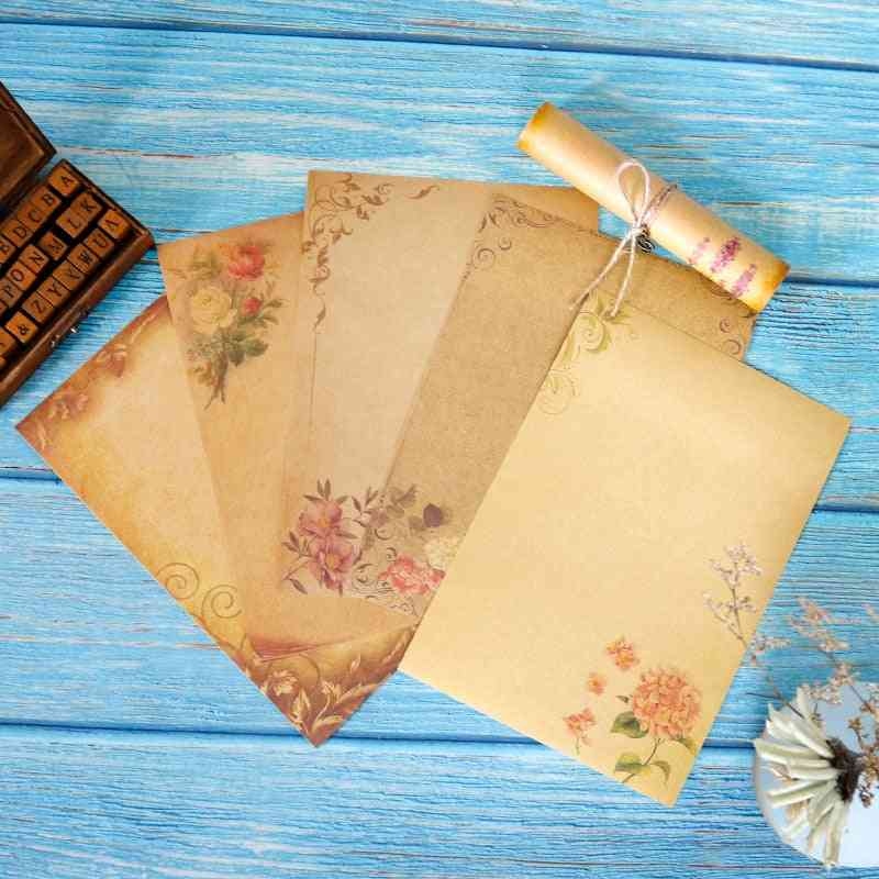 Flower Design Kraft Letter Paper, Creative Brown Craft Writing Stationery Pad, Office Supplies
