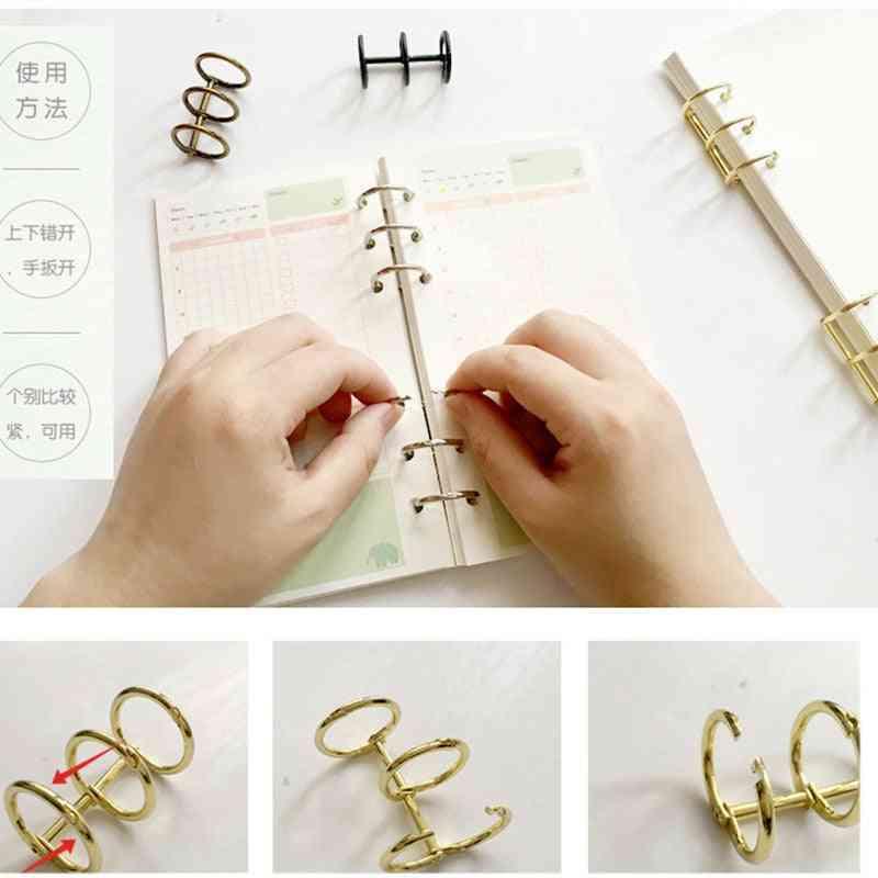 Metal Loose Leaf Book Binder, Hinged Rings Keychain, Album Scrapbook Clips, Craft Photo Album Metal Ring Binders