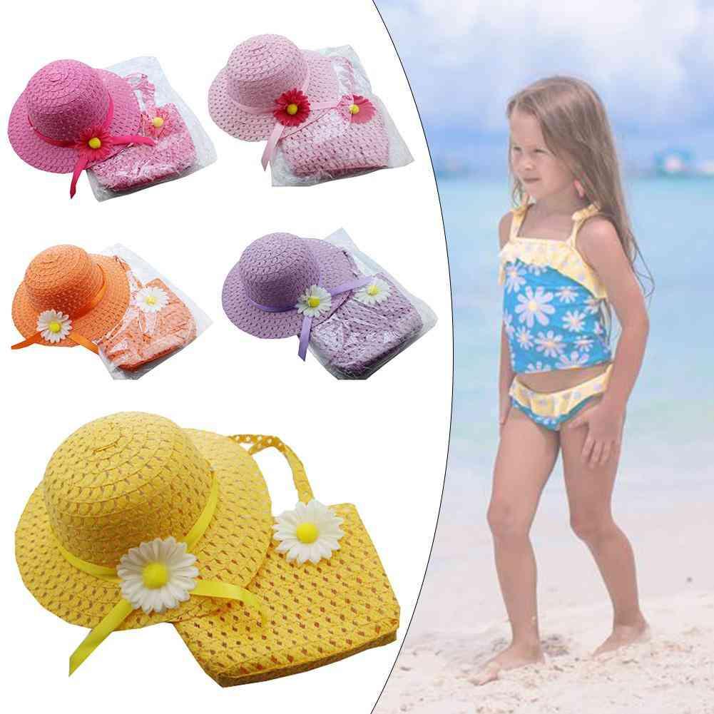 Flower Sun Straw Hat With Handbag Beach Suit Kid