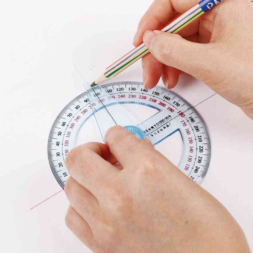 1pc 360 Degree Pointer Protractor Round Transparent Drafting Supplies