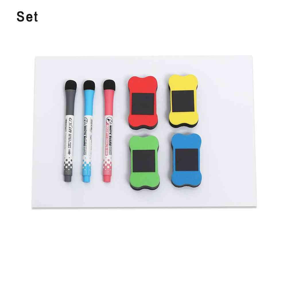 1 Set A4 Flexible Fridge Magnetic Whiteboard Memo Reminder Board Pen