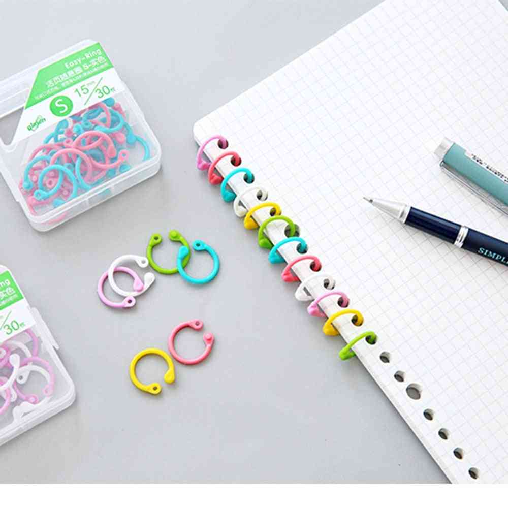 Colored Ring-clip For Paper Book, Loose Leaf Binder, Circle Keychain Ring
