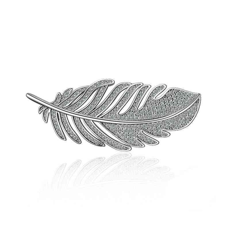 Fashion Leaf Feather 925 Sterling Silver Brooches For Women Corsages With Shining Crystal Brooch Big Scarf Clothes Accessories