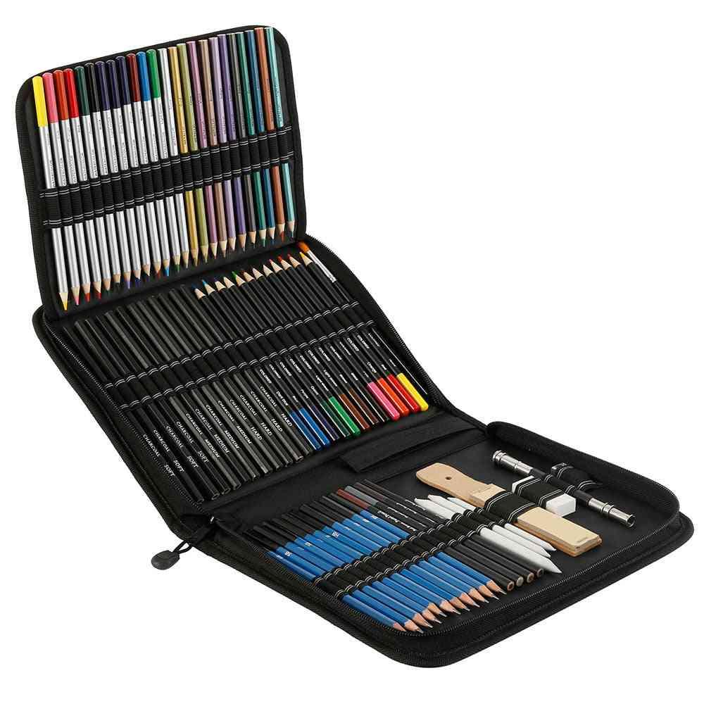 72pcs Drawing Pencils Set Sketch Colored Pencils Painting Set Watercolor Metallic Oily Complete Artist Kit Painting Art Supplies