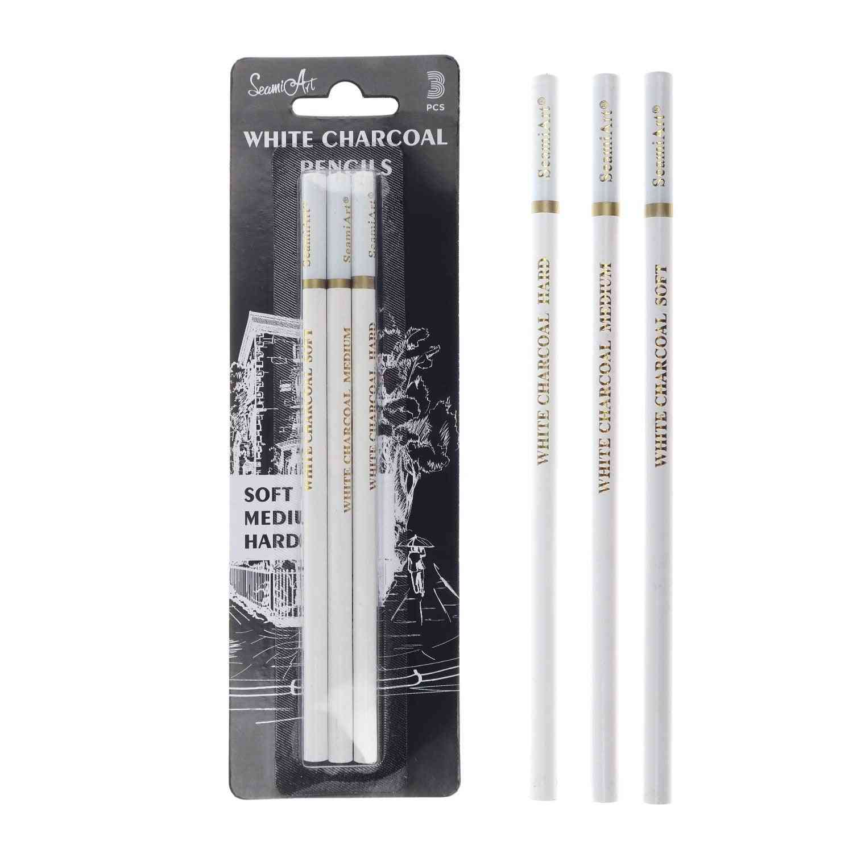 Seamiart 3pcs White Soft/medium/hard Charcoal Pencil For Sketch Carbon Pen Sketch Art Tools Office School Supplies Pencils