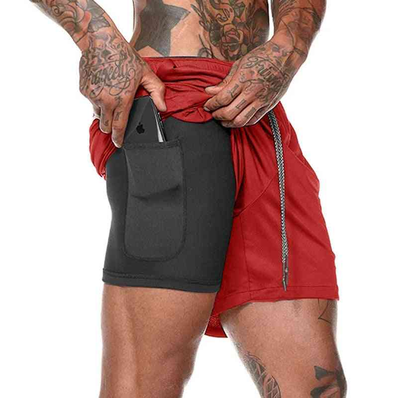 Men's Running Sports Shorts Male Double-deck