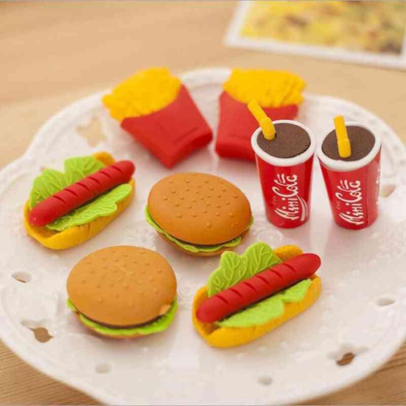 Wholesale! Cute Kawaii Cake Hamburger Food Drink Coke Eraser Set Stationery