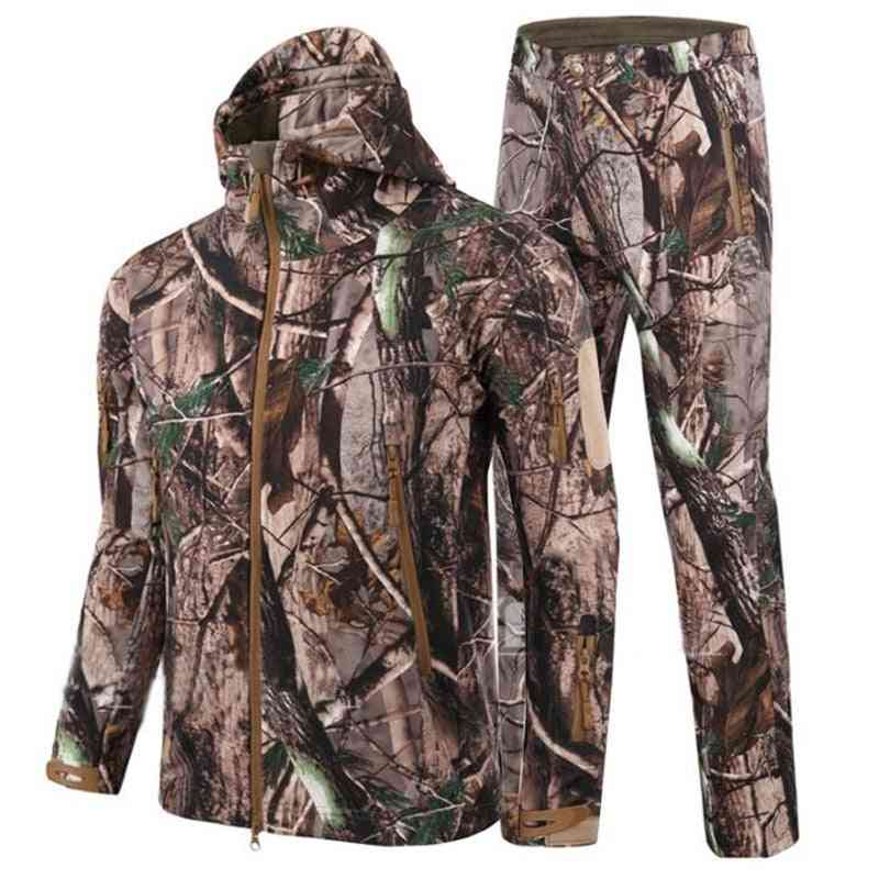 Camouflage Hunting Clothes Ghillie Suit, Fleece Jacket + Pants