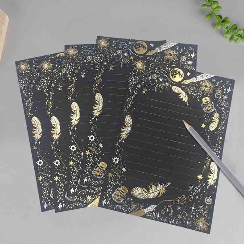 Vintage Gilding Feather Star Letter Paper Set, Stationary Writing, Mini Envelopes For Invitations