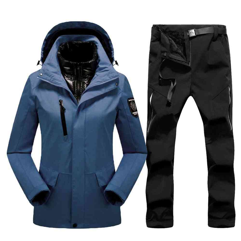 Thick Warm Ski Suit Wind/waterproof Snow Jackets And Pants