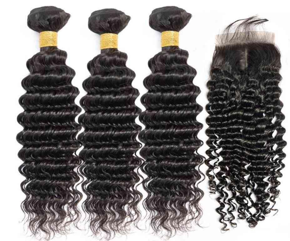 9a Grade Malaysian Human Hair Extension 1/3/4 Deep Wave Bundles With