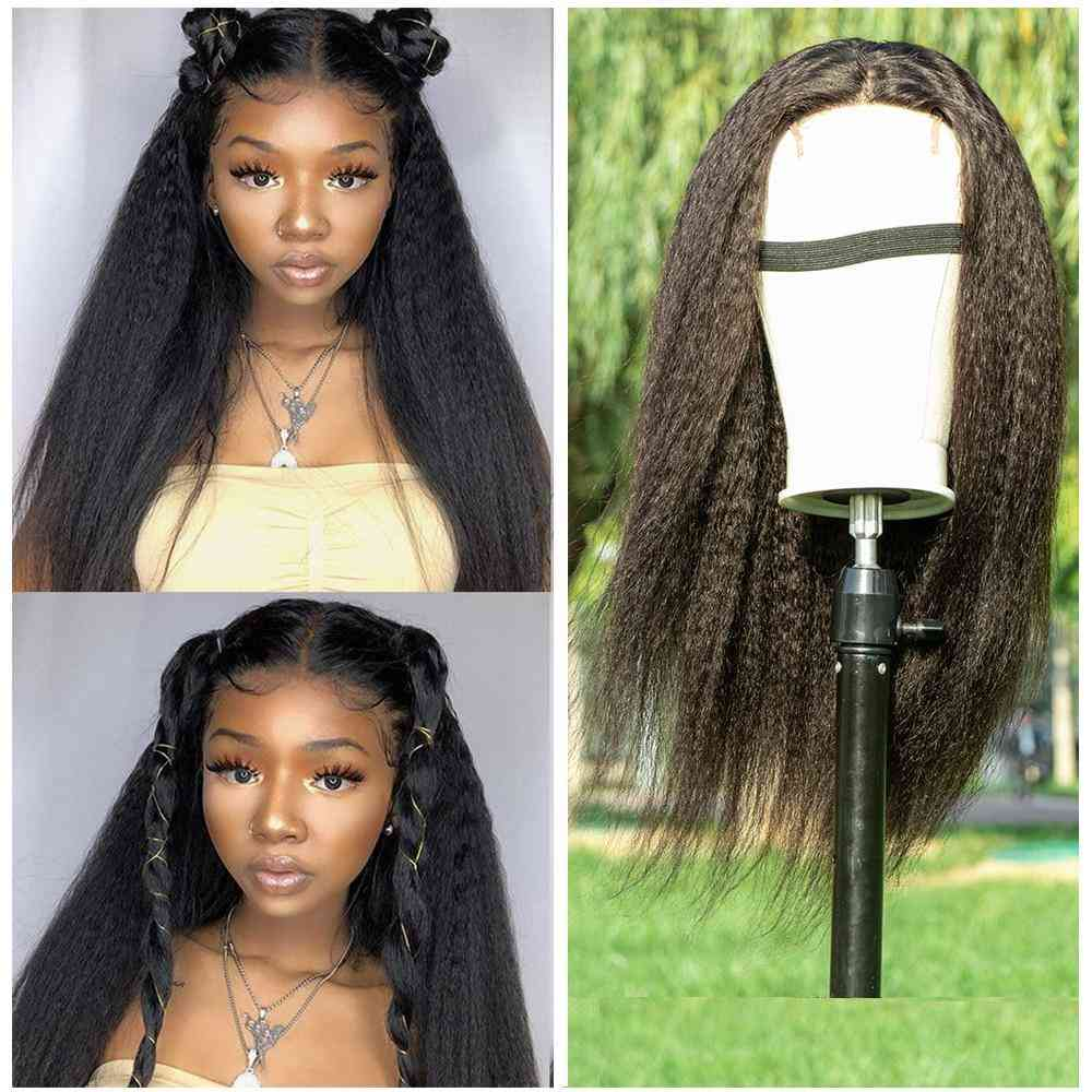 Beumax Brazilian Kinky Straight 4x4 Lace Closure Wigs 180% Density