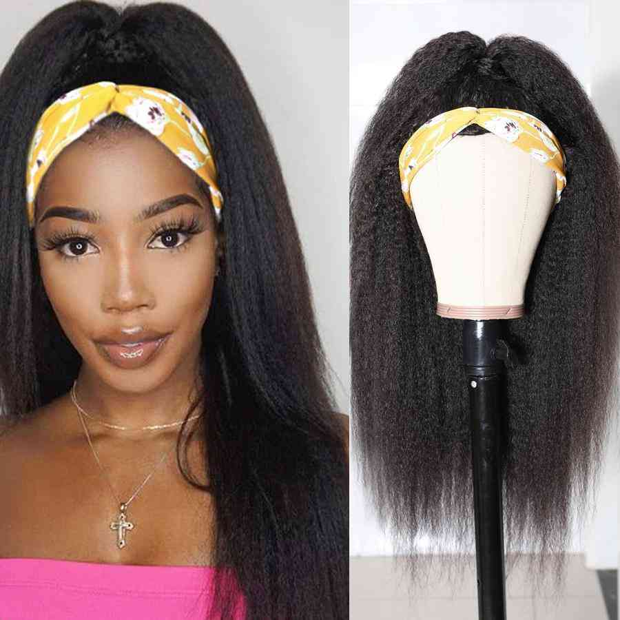 Scarf Wig Kinky Straight Human Hair Wigs Headband Wig