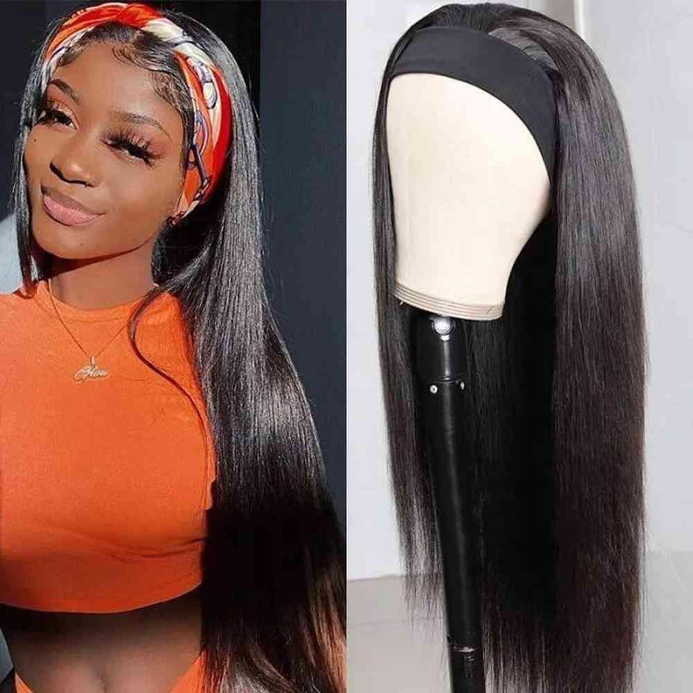 Natural Wave Headband Human Hair Wigs Peruvian Virgin Remy Hair