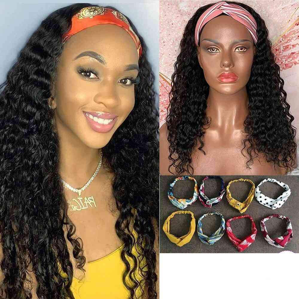 Jerry Curly Glueless Headband Human Hair Wigs For Us