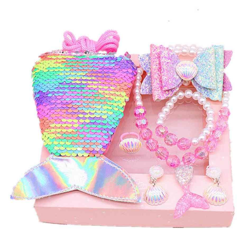 Girl Mermiad Purse, Necklace, Earring, Kids Baby Sequins Bags, Headwear, Clips Heart Shape, Sleeping Beauty Unicorn