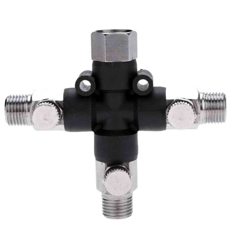 3 Way Airbrush Air Hose Manifold Splitter Airbrush Accessories Multi Use With 1/8 Inch Bsp Fittings And Plugs