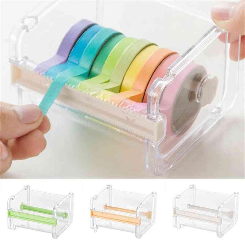 Washi Tape Cutter Set Tool Transparent Holder Dispenser