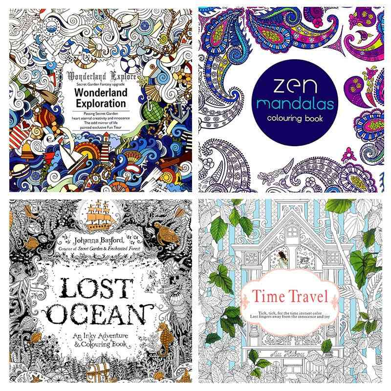 4pc 24 Page Coloring Book Enchanted Forest Mandalas Animal Kids Adult Coloring Books For Adults Livre Drawing/art/colouring Book