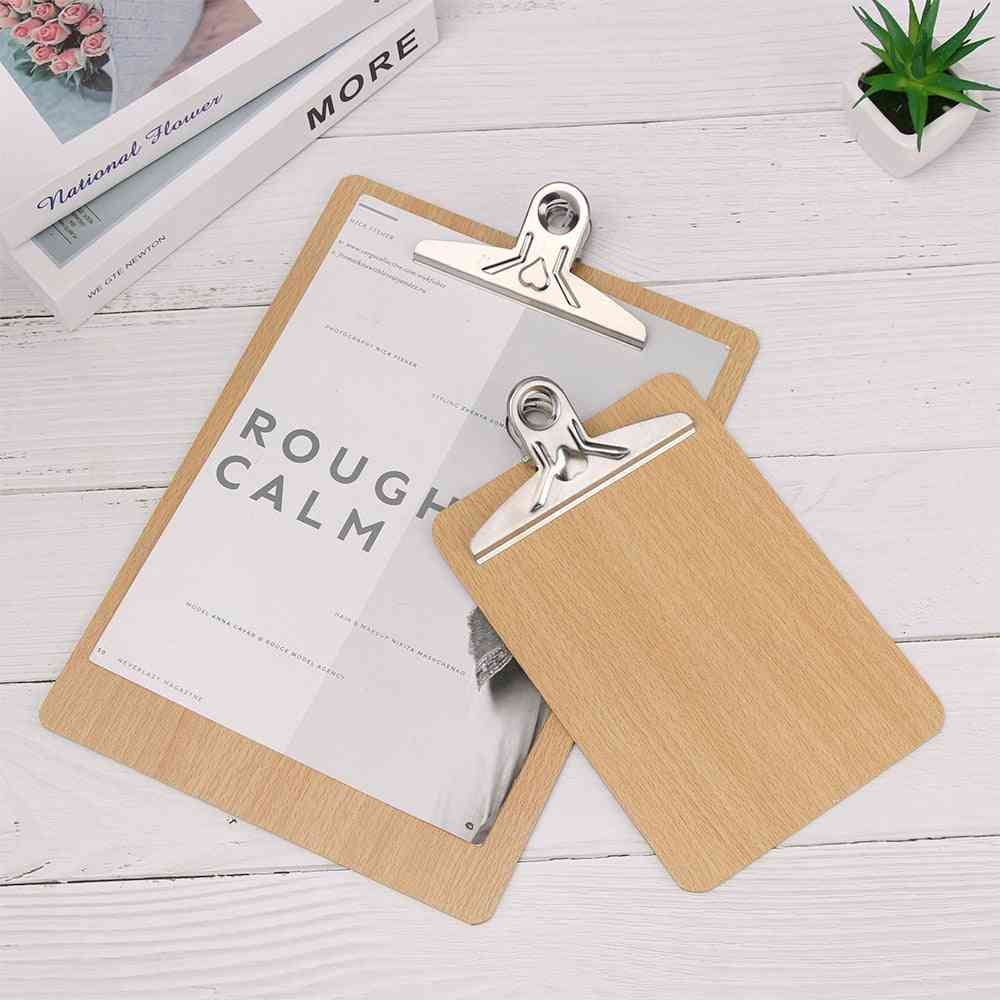 Wooden Clipboard Writing Sheet Pad, Storage Clips, Folders Board, Business, Office, Stationery Restaurant, Hotel Note Pads