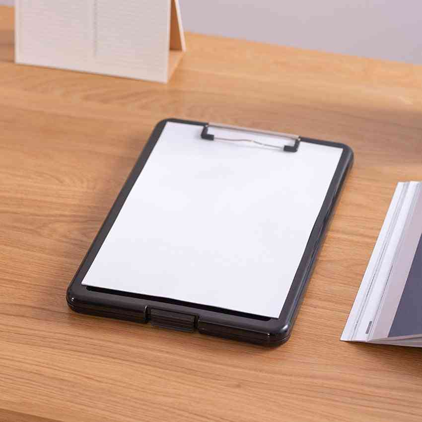 Multifunctional Document Box Clipboard With Pen Slot, Portable Writing Board, Folder File Storage Boxes, Clipboards Clips Clamp