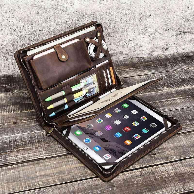 Retro Cow Leather Business Zipper Briefcase Folder, Padfolio Case, Organizer Storage Bag