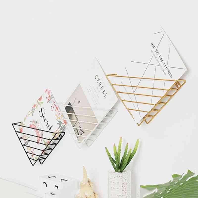 Nordic Geometric Shape Iron Magazine Storage Rack, Wall Hanging Basket, Home Book Organizer, Decor