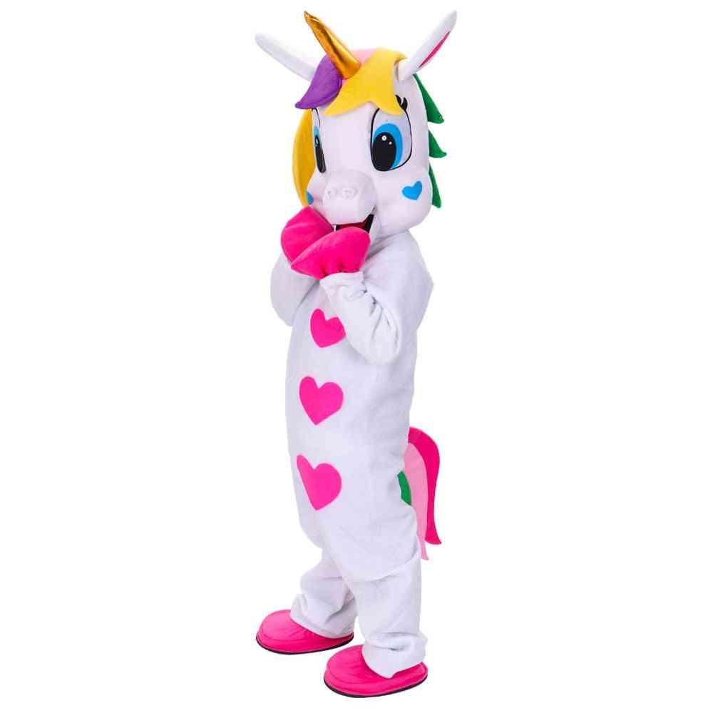 White Unicorn Mascot Costume Horse Mascot Costume