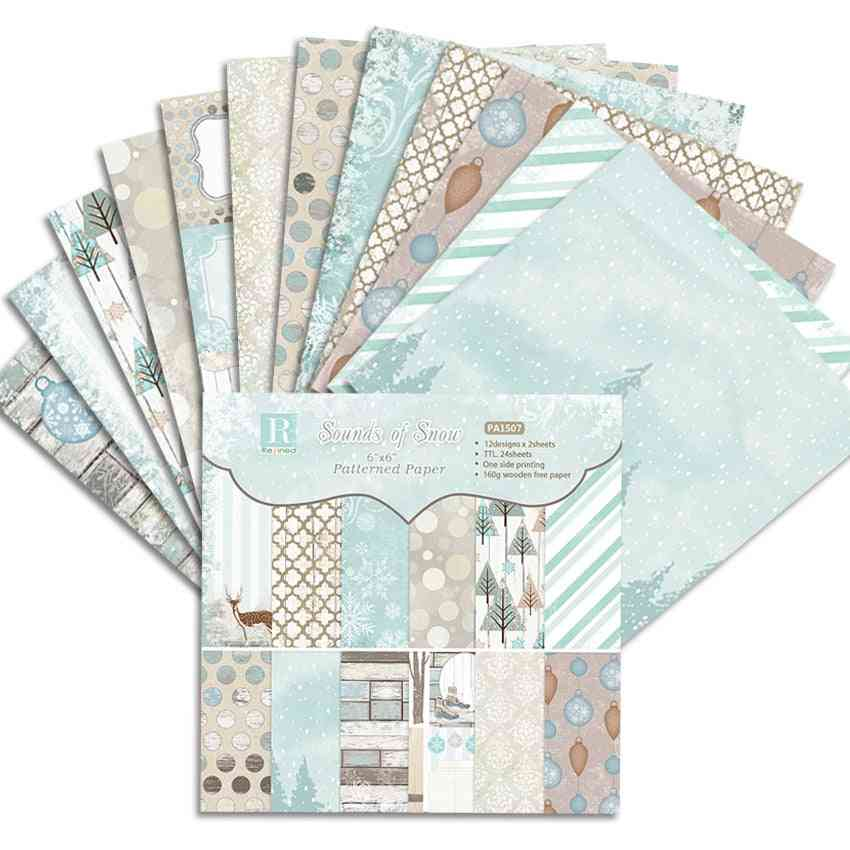 24 Sheets 6 Inch Sounds Of Snow Scrapbooking Paper Origami Diy Handmade Art Craft Paper Scrapbook Background Pad