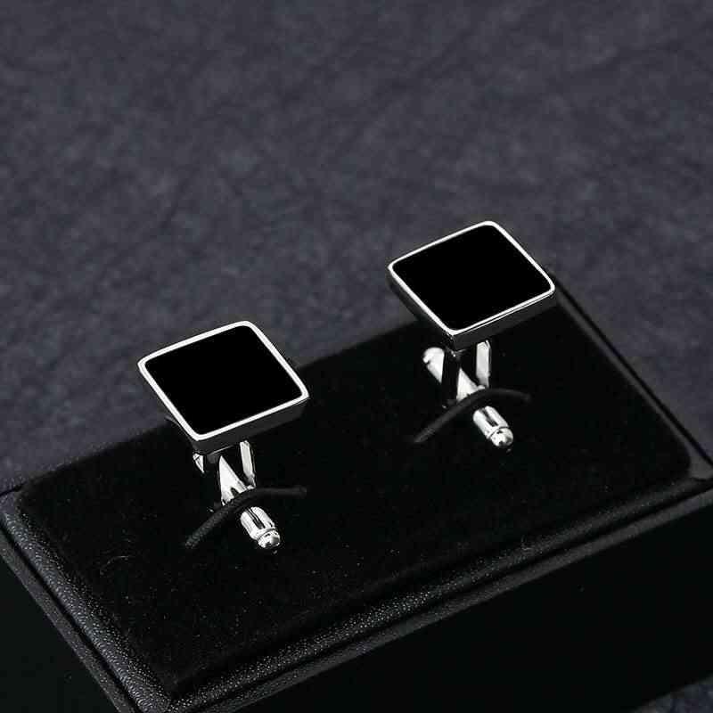 Business Classic Square Geometric Black Copper Men's Cufflinks