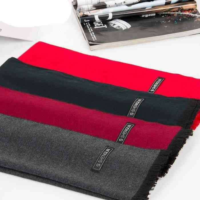 Men's Scarves Winter Velvet  Pure Color Necks Cashmere Scarf