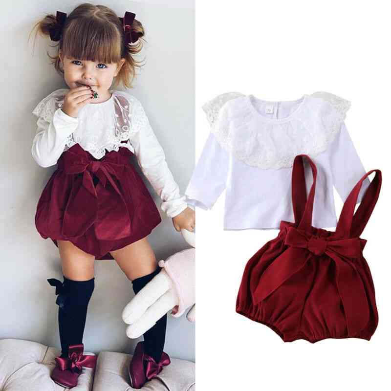 Christmas Toddler Baby Girl Clothes. Tops T-shirt+overalls Pants