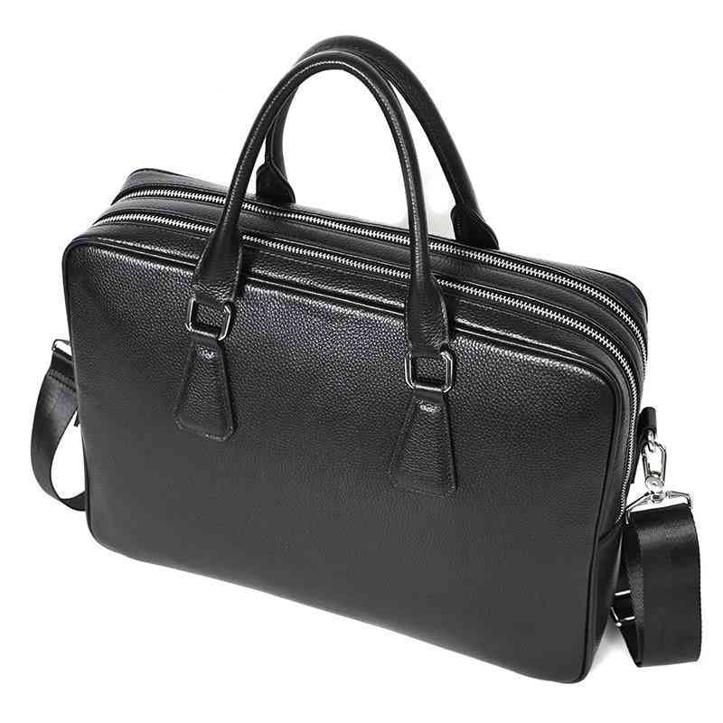 Double Zipper Leather  Briefcase
