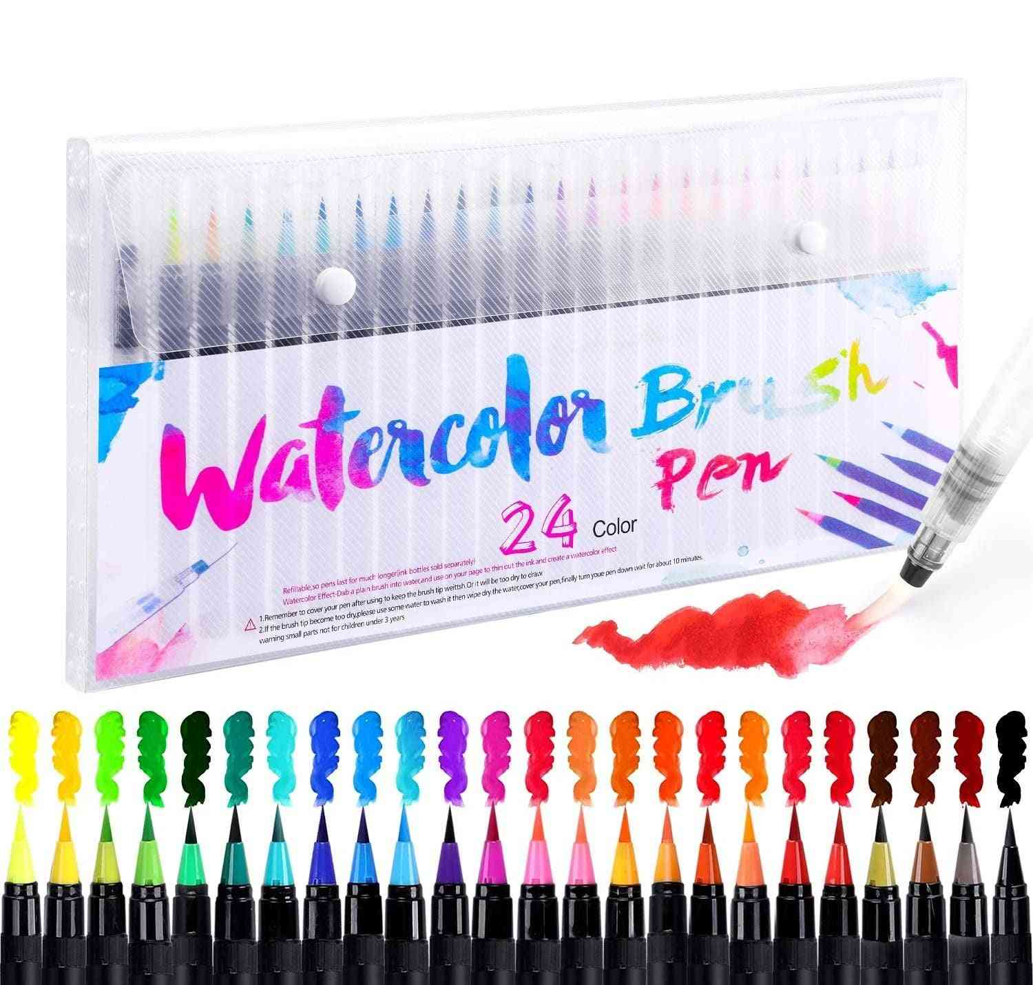 Watercolor Markers For Drawing, Felt-tip Pens Set For, Brush Pen For Lettering, Art Supplies