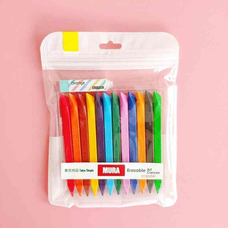 Kid Drawing Set, Erasable Mini Crayon, Triangle Painting Pastel Pencil, Art Supplies School