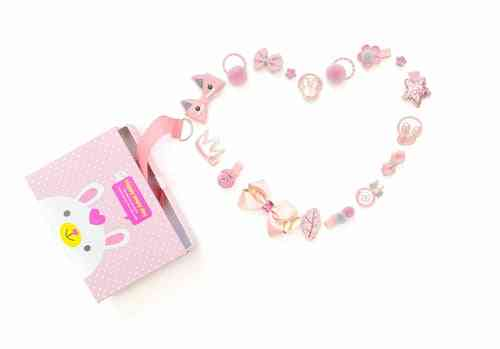 Pink Hair Accessories Box - 18pcs - Set
