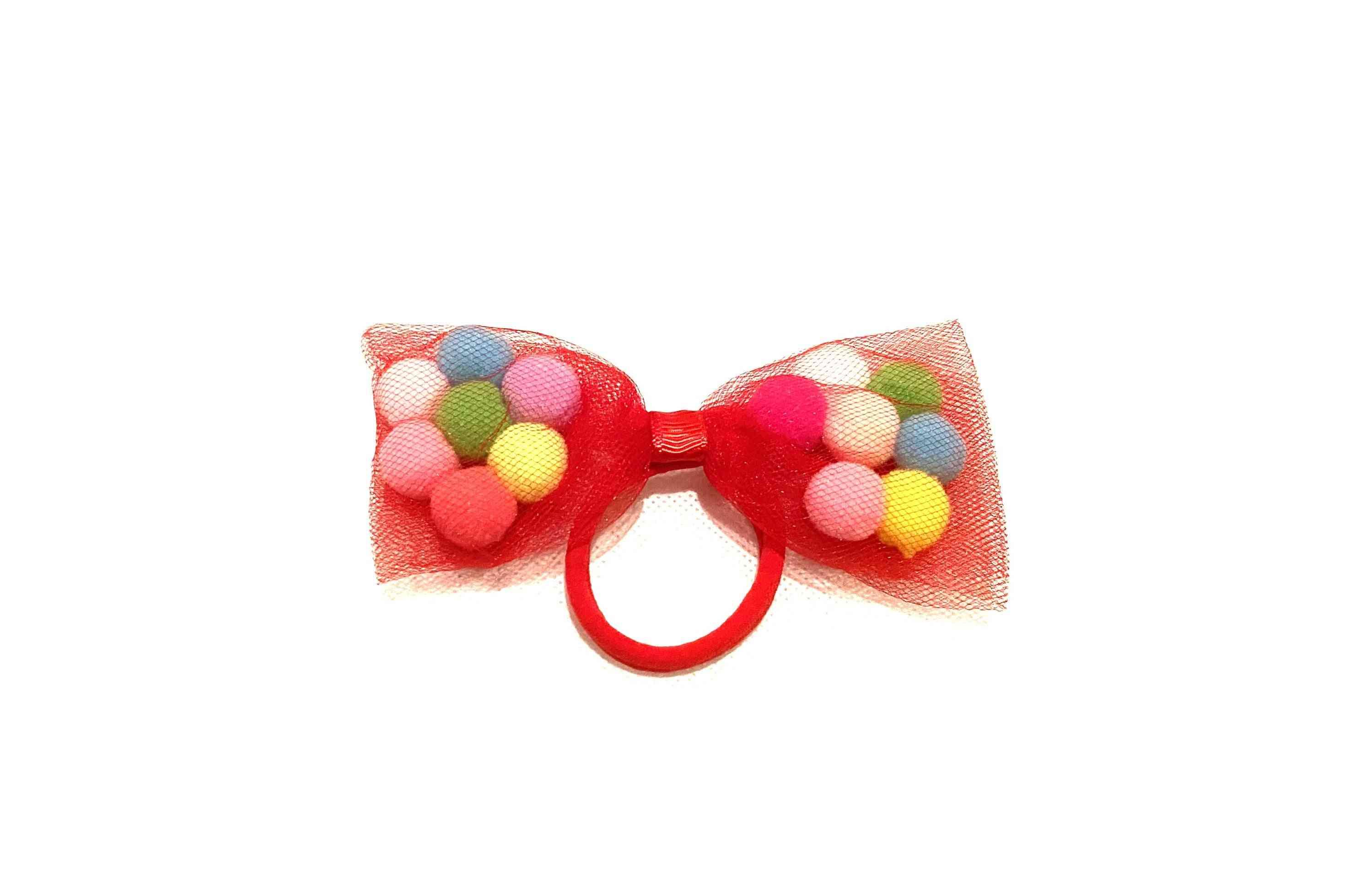 Red Bow Pom Pom Hair Ties | 4