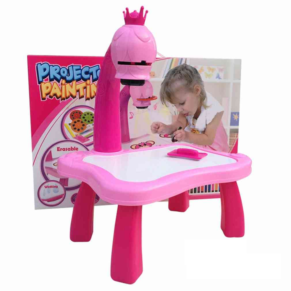 Kids Learning, Painting Table With Light, Music, Smart Projector Toy, Educational, Interactive Tool Drawing Desk