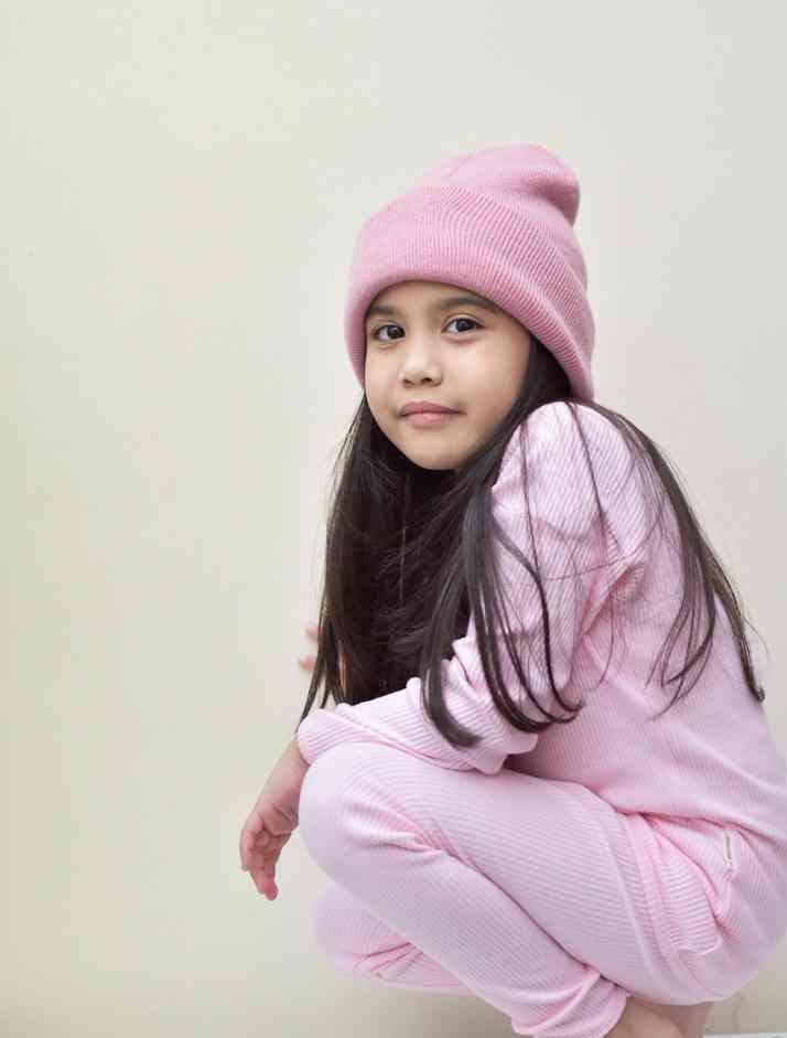 Sweet Pink Ribbed Lounge Set Unisex Pyjama
